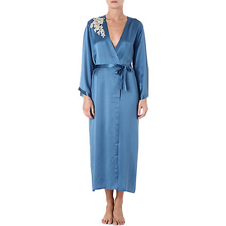 MARJOLAINE Prestige long silk robe (Cobalt/antique