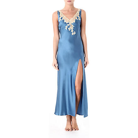 MARJOLAINE Prestige long nightdress (Cobalt/antique