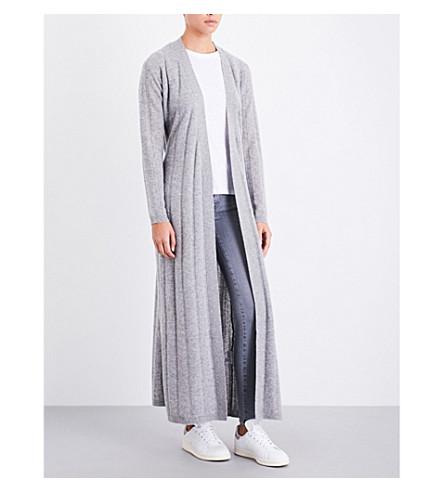 MADELEINE THOMPSON Belinda longline cashmere cardigan (Light+grey