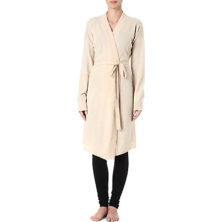 MADELEINE THOMPSON Drape-front cashmere robe (Wheat