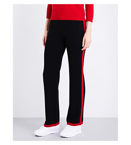 MADELEINE THOMPSON Maude cashmere jogging bottoms (Black+red+stripe
