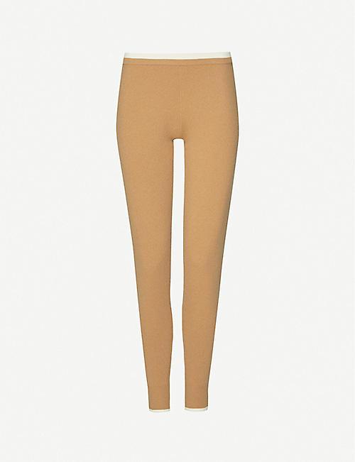 MADELEINE THOMPSON Plutus striped-trim cashmere pyjama bottoms
