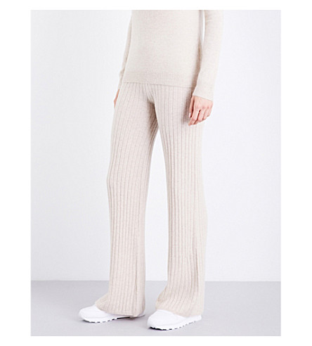 MADELEINE THOMPSON Olympia ribbed-knit cashmere jogging bottoms (Wheat
