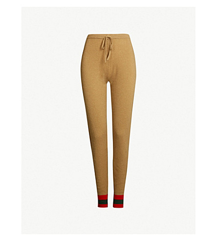 MADELEINE THOMPSON Janus cashmere jogging bottoms (Camel red dark green