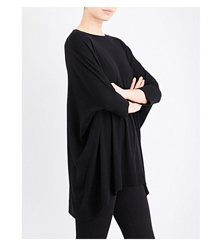 MADELEINE THOMPSON Clematis knitted cashmere poncho (Black