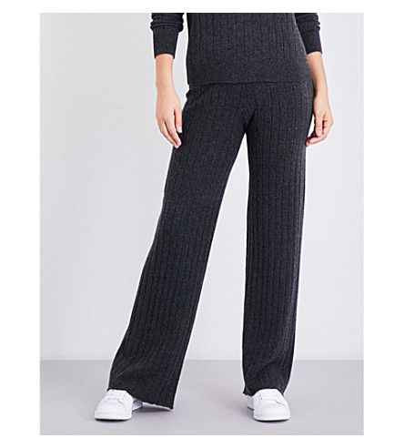 MADELEINE THOMPSON Drake ribbed cashmere pyjama bottoms (Charcoal