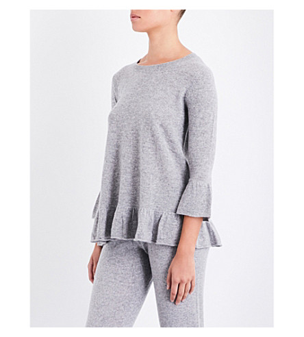 MADELEINE THOMPSON Angelina flared-hem cashmere jumper (Light+grey