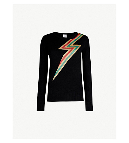 MADELEINE THOMPSON Styx lightning cashmere jumper (Red gold green lurex