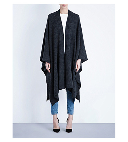 MADELEINE THOMPSON Oversized cashmere wrap (Charcoal