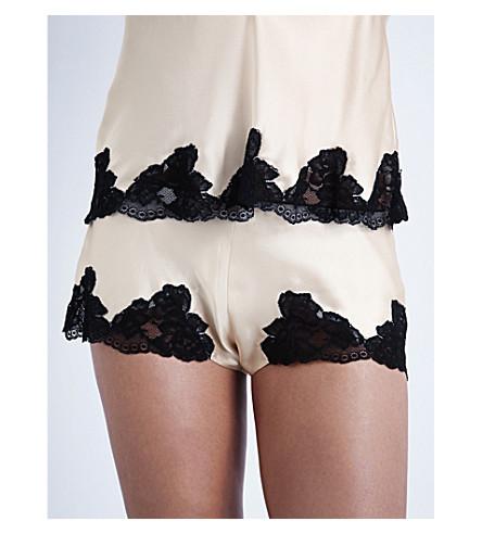 negro de elástica y color seda encaje IMODE NK de pijama Shorts champán encaje 1FwqZp7