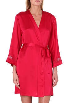 NK IMODE Lace-detailed silk short robe