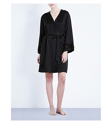 NK IMODE Morgan stretch-lace and silk-satin robe (Black/black+lace