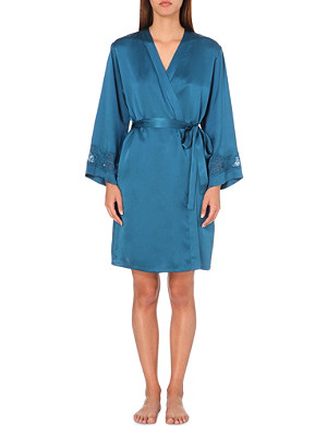NK IMODE V-neck silk-satin dressing gown