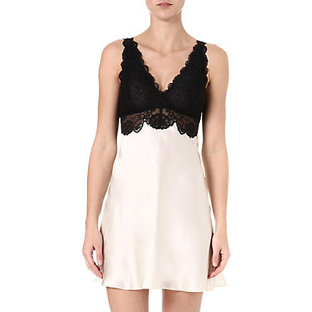 NK IMODE Silk and lace chemise (Champagne/black