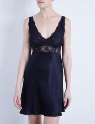Morgan Iconic floral lace and silk-satin chemise