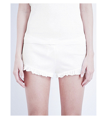 SKIN Ribbed pima-cotton shorts (White