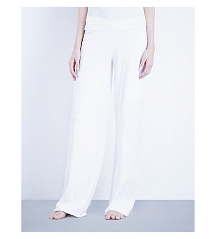 SKIN Double-layer pima-cotton jersey pyjama bottoms (White