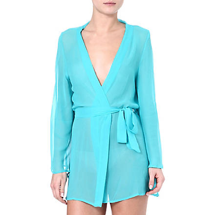 BEAUTIFUL BOTTOMS Silk robe (Cyan