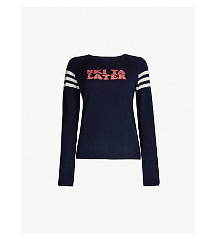 CHINTI AND PARKER Ski Ya Later slogan-intarsia cashmere jumper (Navy multi