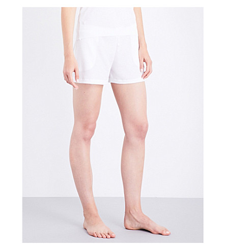 SKIN Waffle-knit cotton shorts (White