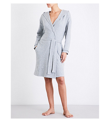 SKIN Textured cotton-waffle robe (Heather+gray