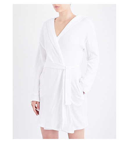 SKIN Textured cotton-waffle robe (White