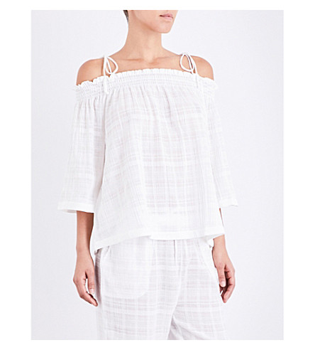SKIN Cold shoulder cotton-gauze pyjama top (White