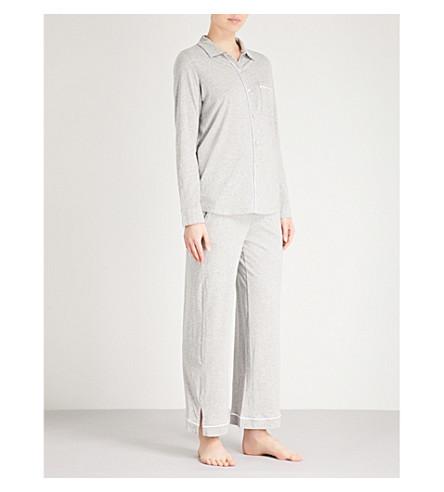 SKIN Penelope cotton-jersey pyjama set (Heather+grey