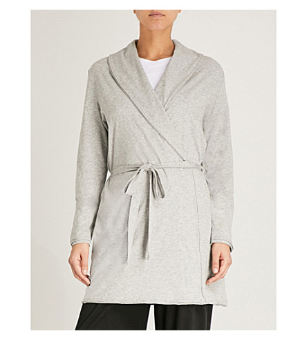 SKIN Coco cotton-jersey robe (Heather+grey
