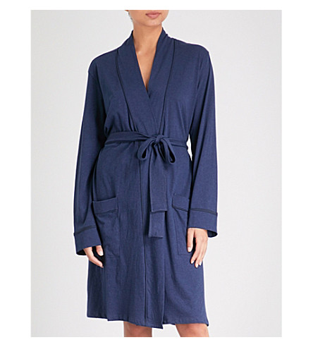 SKIN Omorose cotton-jersey dressing gown (Navy