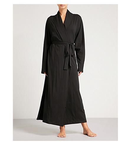 SKIN Paola Wrap cotton-jersey robe (Black
