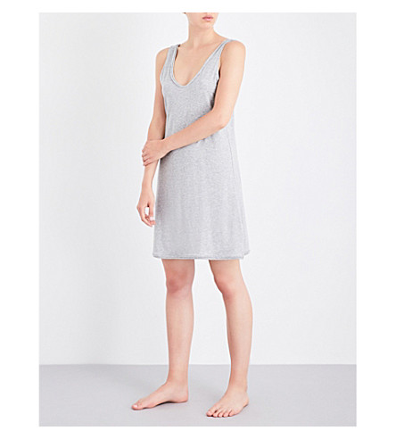 SKIN Marl-effect pima cotton chemise (Heather+gray