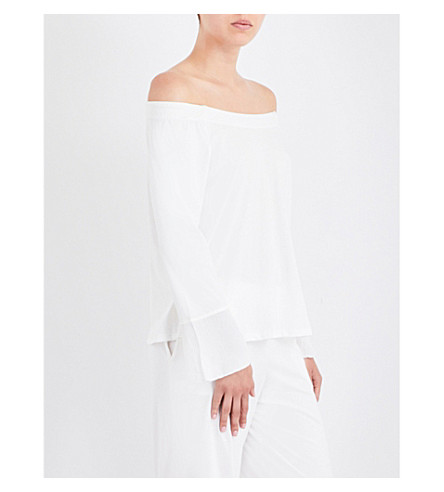 SKIN Off-the-shoulder pima cotton top (Alabaster