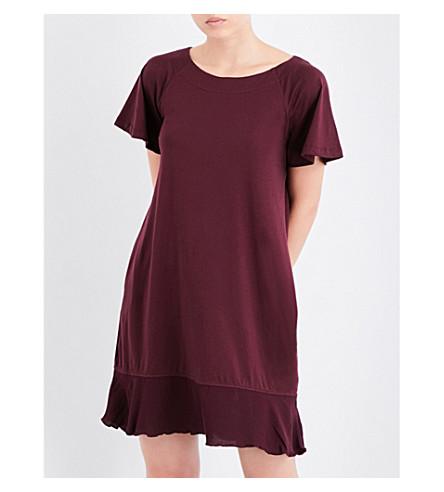 SKIN Flared-hem cotton chemise (Mulberry