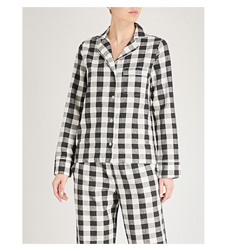 SKIN Lucienne cotton pyjama top (Black+and+white