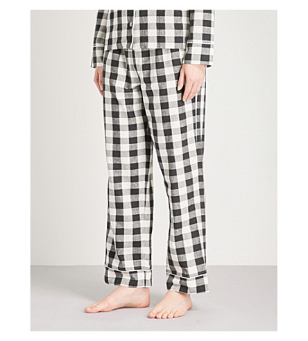 SKIN Lilou cotton pyjama bottoms (Black+and+white