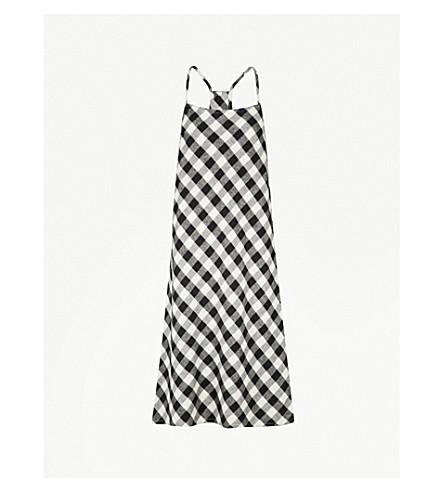 SKIN Leonie checked brushed-cotton midi dress (Black+and+white