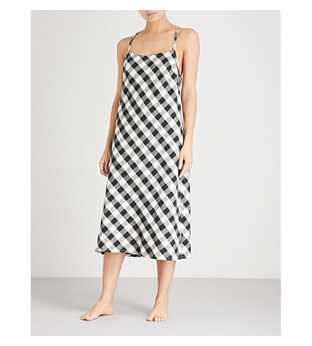 SKIN Leonie checked brushed-cotton midi dress (Black+and+white