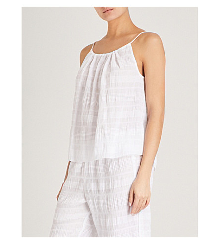 SKIN Nadia woven stretch-cotton top (White