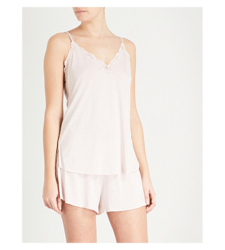 SKIN Juno lace and jersey camisole (Soft+pink