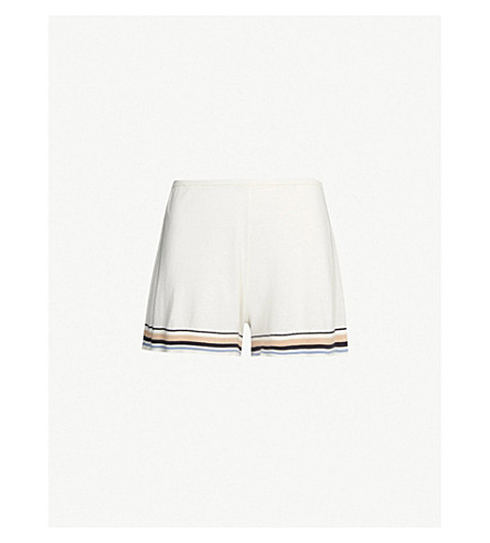 SKIN Evie cotton-blend knitted shorts (Ivory