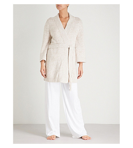 SKIN Kadia knitted cotton dressing gown (Gardenia+melange