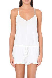 SKIN Pintucked organic cotton romper