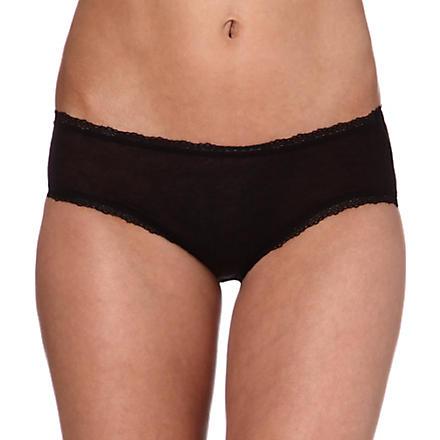 SKIN Lace-detailed boy shorts (Black