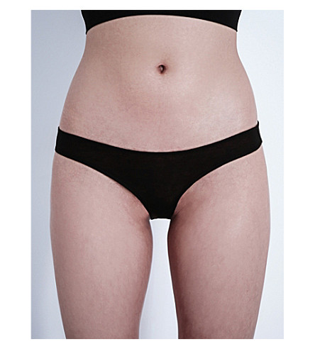 SKIN Organic pima-cotton bikini briefs (Black