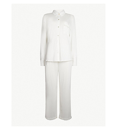 SKIN Jemima cotton-jersey pyjama set (Coconut