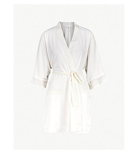 SKIN Blake frilled pima cotton robe (Gardenia