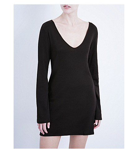 SKIN Ribbed pima-cotton jersey tunic (Black