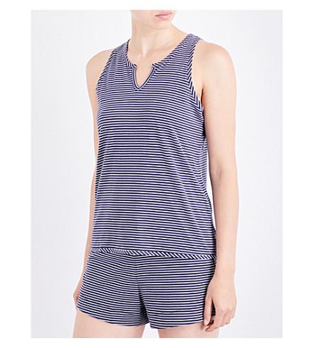SKIN Striped jersey pyjama top (Navy+striped