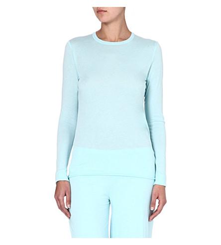 SKIN Pima cotton pyjama top (Aqua